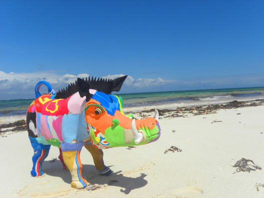 Warthog made from flip flops by Ocean Sole in Kenya