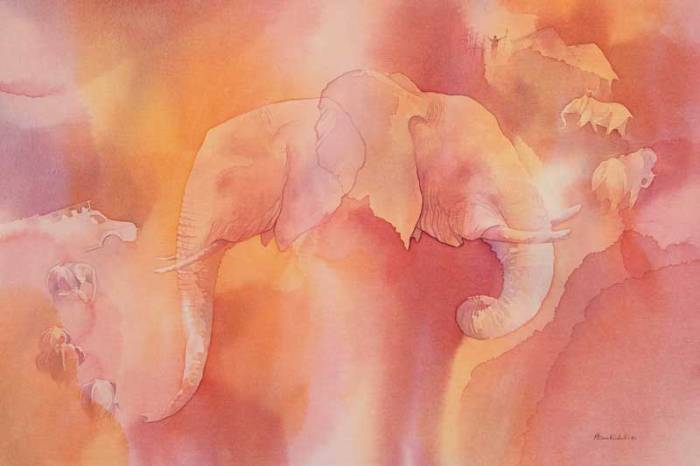"Elephant!, acrylic 20x30"" by Alison Nicholls"