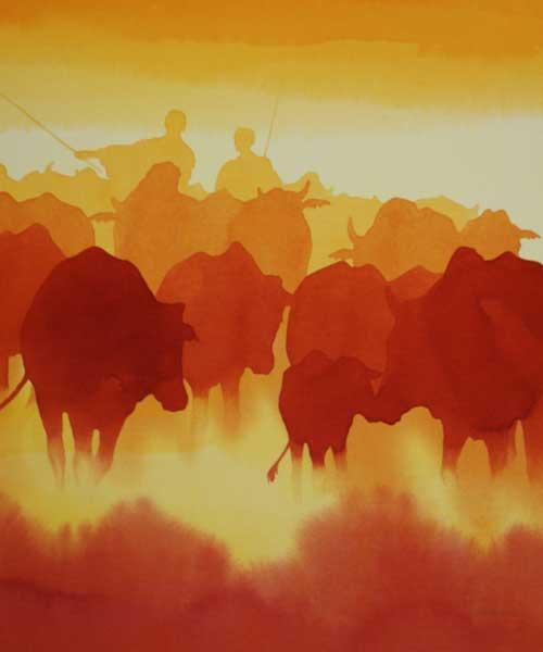 "The Herd, acrylic 24x20"" by Alison Nicholls"