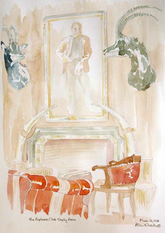 The Explorers Club Trophy Room, sketch by Alison Nicholls ©2014
