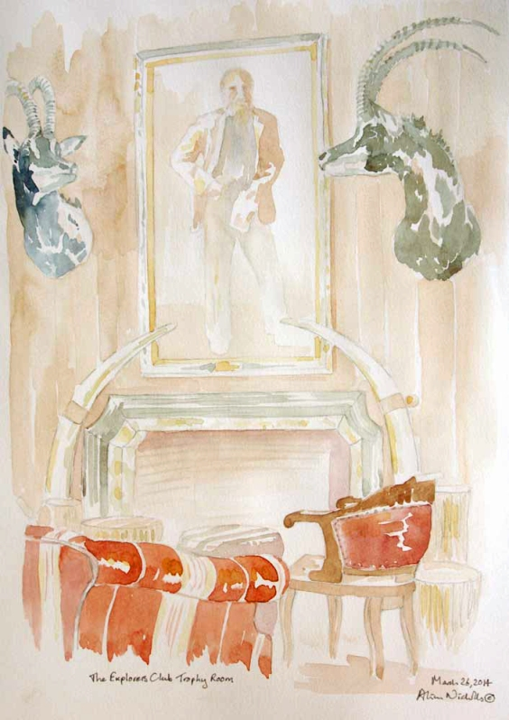 The Explorers Club Trophy Room, sketch by Alison Nicholls ©2014