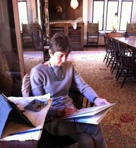 Alison Nicholls sketching at the Explorers Club