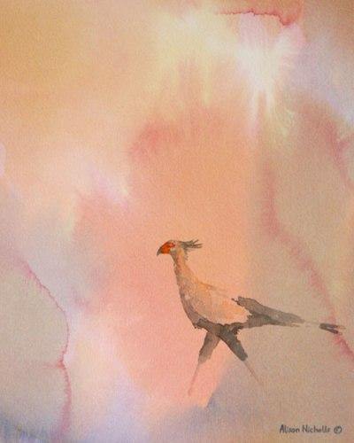 "Secretary Bird, acrylic 10x8"" by Alison Nicholls © 2012"