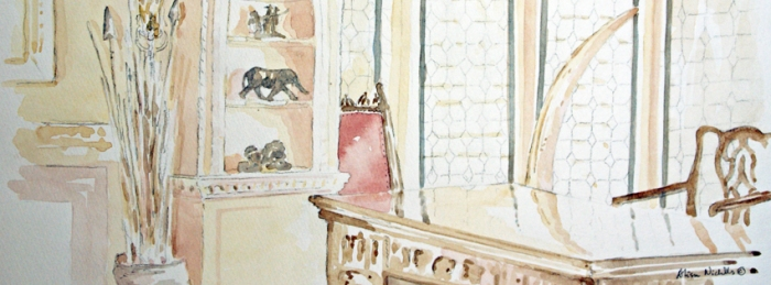 Roosevelt Room, Explorers Club, sketch by Alison Nicholls © 2014
