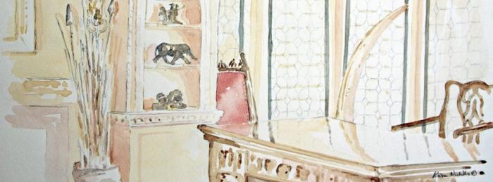 Roosevelt Room, Explorers Club, sketch by Alison Nicholls © 2014