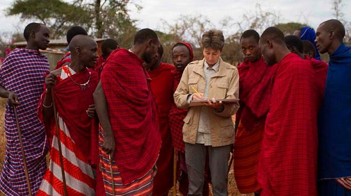 Alison Nicholls sketching in Tanzania
