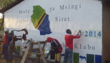 Painting at a school in Tanzania