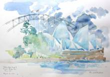"""Sydney Opera House from Farm Cove, watercolor 11x14"""" by Alison Nicholls"""