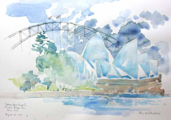 "Sydney Opera House from Farm Cove, watercolor 11x14"" by Alison Nicholls"