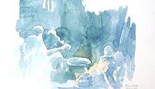 """Tea by the Fire Field Sketch 11x14"""" © Alison Nicholls 2014"""