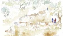 """Watering the Cattle, field sketch 11x14"""" by Alison Nicholls"""