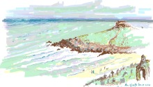 Porthmeor Beach, St Ives, Cornwall, UK. Created using One Note. Alison Nicholls